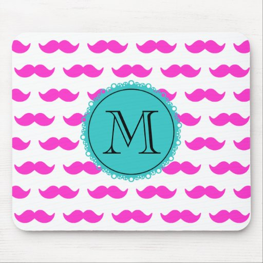 Hot Pink Mustache Pattern, Teal Black Monogram Mouse Pad