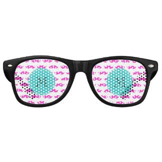 Hot Pink Mustache Pattern, Teal Black Monogram Wayfarer Sunglasses
