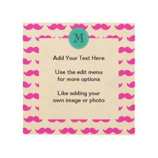 Hot Pink Mustache Pattern, Teal Black Monogram Wood Print