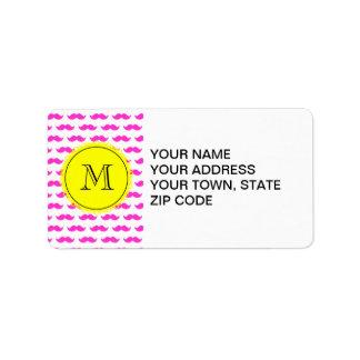 Hot Pink Mustache Pattern, Yellow Black Monogram Address Label