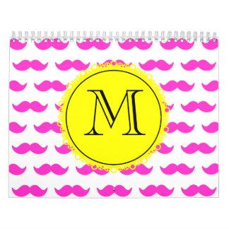 Hot Pink Mustache Pattern, Yellow Black Monogram Wall Calendars