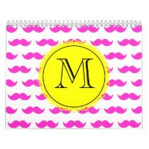 Hot Pink Mustache Pattern, Yellow Black Monogram Calendar