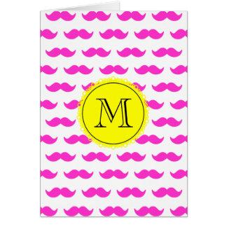 Hot Pink Mustache Pattern, Yellow Black Monogram Card