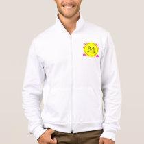 Hot Pink Mustache Pattern, Yellow Black Monogram Jacket