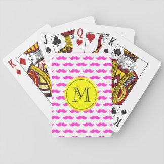 Hot Pink Mustache Pattern, Yellow Black Monogram Card Decks