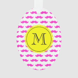 Hot Pink Mustache Pattern, Yellow Black Monogram Ornament