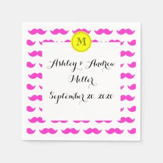 Hot Pink Mustache Pattern, Yellow Black Monogram Paper Napkin