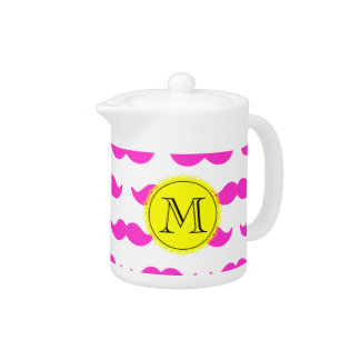 Hot Pink Mustache Pattern, Yellow Black Monogram Teapot