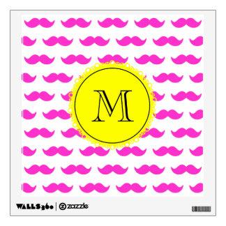 Hot Pink Mustache Pattern, Yellow Black Monogram Wall Sticker