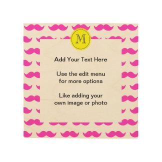 Hot Pink Mustache Pattern, Yellow Black Monogram Wood Wall Art
