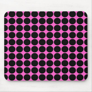 Hot Pink-n-Black Dots Mouse Pad