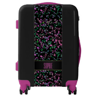 Hot Pink n Green Personalized Music Notes Luggage