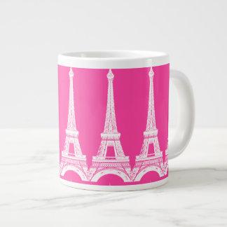 Hot Pink-n-White Eiffel Towers Giant Coffee Mug