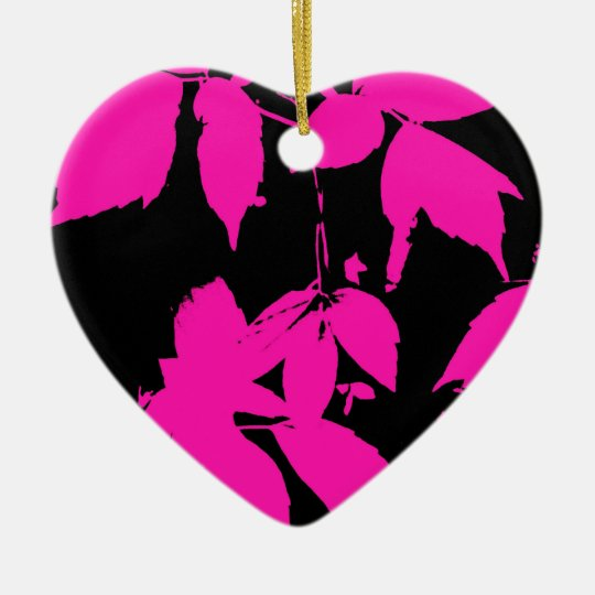 Hot Pink Nature Prints Ceramic Ornament