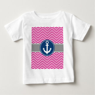 Hot PInk Nautical Anchor Chevron Baby T-Shirt