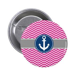 Hot PInk Nautical Anchor Chevron Button