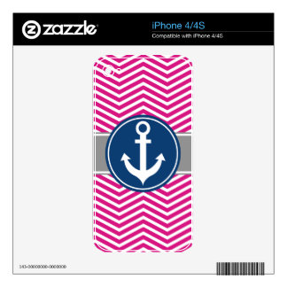 Hot PInk Nautical Anchor Chevron Decal For The iPhone 4