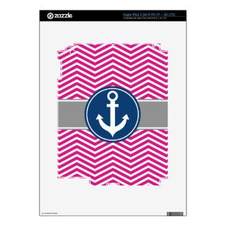 Hot PInk Nautical Anchor Chevron iPad 3 Decals