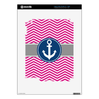Hot PInk Nautical Anchor Chevron Skins For The iPad 2