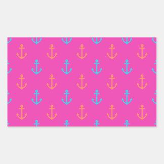 Hot Pink Nautical Anchor Pattern Rectangular Sticker
