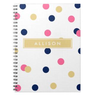 Hot Pink Navy and Gold Polka Dot Monogram Notebook