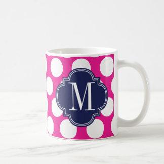 Hot Pink & Navy Big Polka Dots Monogrammed Coffee Mug