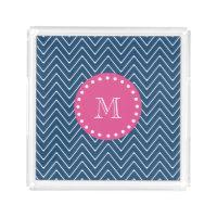 Hot Pink, Navy Blue Chevron | Your Monogram Acrylic Tray