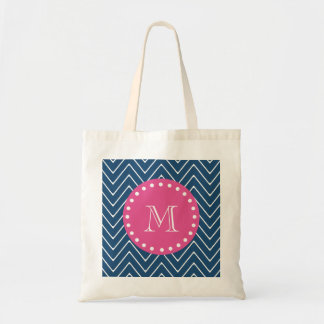 Hot Pink, Navy Blue Chevron | Your Monogram Budget Tote Bag
