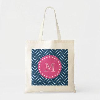 Hot Pink, Navy Blue Chevron   Your Monogram Budget Tote Bag