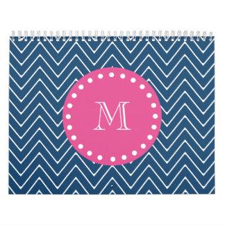 Hot Pink, Navy Blue Chevron | Your Monogram Calendar
