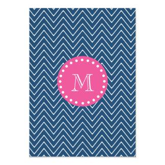 Hot Pink, Navy Blue Chevron   Your Monogram Card