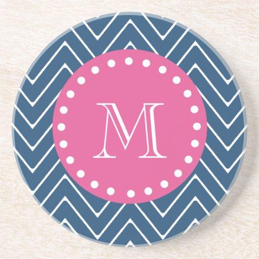 Hot Pink, Navy Blue Chevron | Your Monogram Coaster
