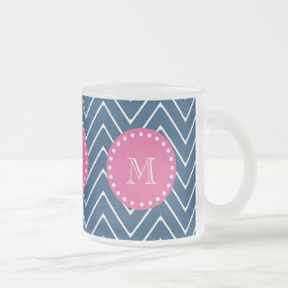 Hot Pink, Navy Blue Chevron   Your Monogram Frosted Glass Coffee Mug