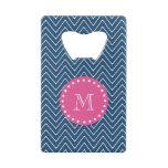 Hot Pink, Navy Blue Chevron | Your Monogram Wallet Bottle Opener