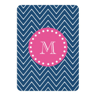 "Hot Pink, Navy Blue Chevron | Your Monogram 4.5"" X 6.25"" Invitation Card"