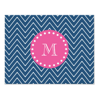 Hot Pink, Navy Blue Chevron | Your Monogram 4.25x5.5 Paper Invitation Card