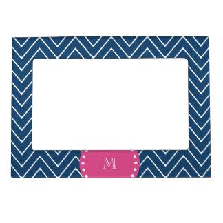 Hot Pink, Navy Blue Chevron   Your Monogram Magnetic Frame