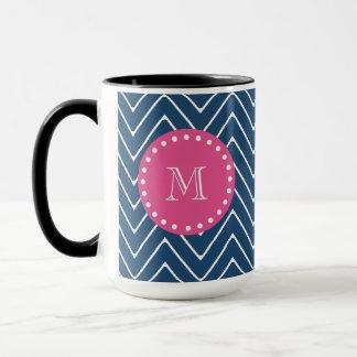 Hot Pink, Navy Blue Chevron | Your Monogram Mug