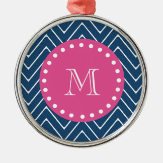 Hot Pink, Navy Blue Chevron | Your Monogram Christmas Tree Ornaments