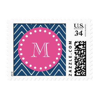Hot Pink, Navy Blue Chevron | Your Monogram Postage