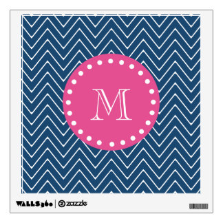 Hot Pink, Navy Blue Chevron | Your Monogram Room Decal