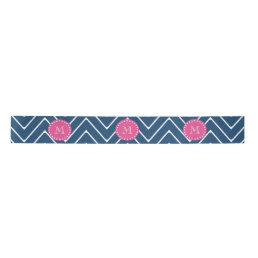 Hot Pink, Navy Blue Chevron | Your Monogram Satin Ribbon