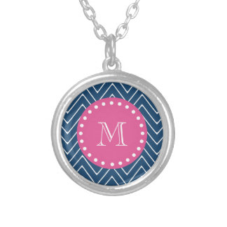 Hot Pink, Navy Blue Chevron   Your Monogram Silver Plated Necklace
