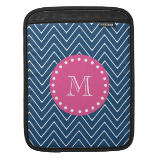 Hot Pink, Navy Blue Chevron | Your Monogram Sleeve For iPads