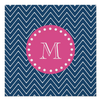 Hot Pink, Navy Blue Chevron | Your Monogram Perfect Poster