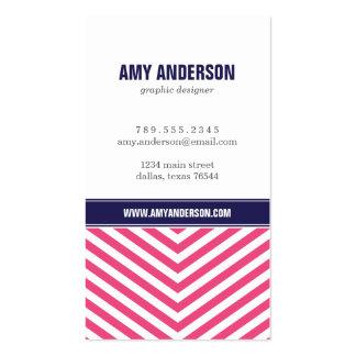 Hot Pink Navy Blue Modern Chevron Stripes Business Card