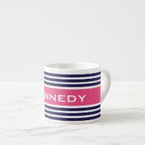 Hot Pink & Navy Blue Stripes & Custom Monogram Espresso Cup
