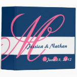 HOT PINK NAVY BLUE WHITE Wedding Photo Planner 3 Ring Binder