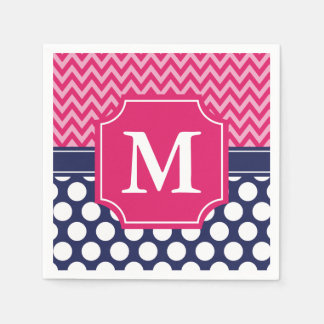 Hot Pink & Navy Chevron Zigzag Polka Dots Monogram Paper Napkins