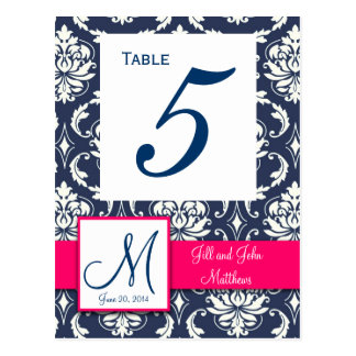Hot Pink Navy Damask Wedding Table Number Post Card